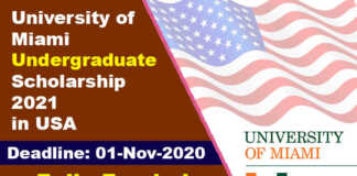 University of Miami Undergraduate Scholarship 2021 in USA (Fully Funded)