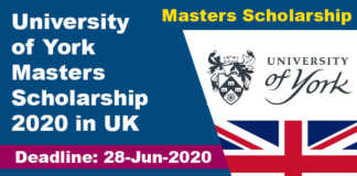 University of York Masters Scholarship 2020 in UK