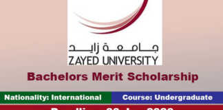 Zayed University Merit Scholarship 2020 in UAE