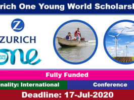Zurich One Young World Scholarship 2021 in Germany (Fully Funded)
