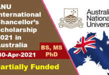 ANU International Chancellor's Scholarship 2021 in Australia