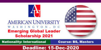 American University Global Leader Scholarship 2021 in United States (Fully Funded)