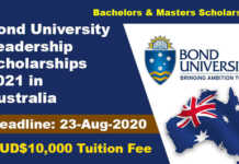Bond University Leadership Scholarships 2021 in Australia
