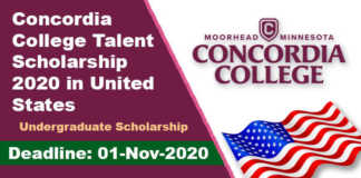 Concordia College Talent Scholarship 2020 in United States