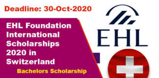 EHL Foundation International Scholarships 2020 in Switzerland