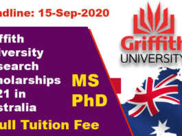 Griffith University Research Scholarships 2021 in Australia