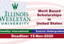 Illinois Wesleyan University Undergraduate Scholarship 2021 in USA