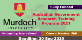 Murdoch University RTP Scholarships 2021 in Australia (Fully Funded)