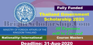 Thailand International Postgraduate Scholarship 2020 (Fully Funded)
