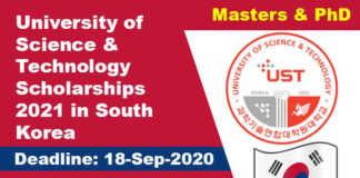 University of Science & Technology Scholarships 2021 in South Korea