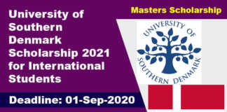 University of Southern Denmark Scholarship 2021 for International Students