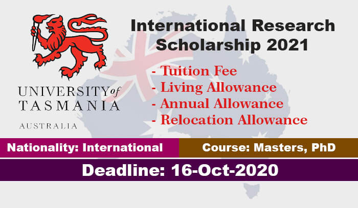 University of Tasmania Research Scholarships 2021 in Australia