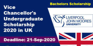 Vice-Chancellor's Undergraduate Scholarship 2020 in UK