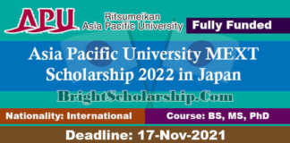Asia Pacific University MEXT Scholarship 2022 in Japan (Fully Funded)