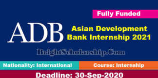 Asian Development Bank Internship 2021 (Fully Funded)