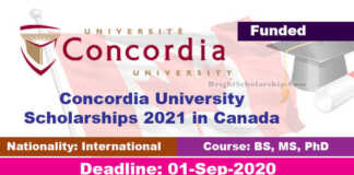 Concordia University Scholarships 2021 in Canada (Funded)