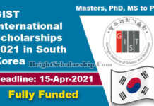GIST International Scholarships 2021 in South Korea (Fully Funded)