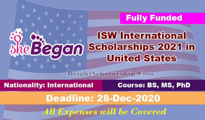 ISW International Scholarships 2021 in United States ...