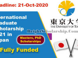 International Graduate Scholarship 2021 in Japan (Fully Funded)