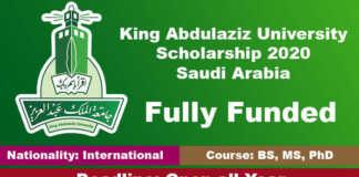 King Abdulaziz University Scholarship 2020 in Saudi Arabia (Fully Funded)