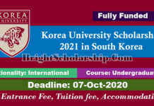 Korea University Undergraduate Scholarship 2021 in South Korea