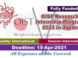 OIST Research Internship Program 2021 in Japan (Fully Funded)
