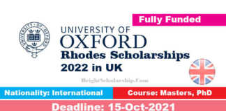 Rhodes Scholarships at Oxford University 2022 in UK (Fully Funded)