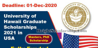 University of Hawaii Graduate Scholarships 2021 in United States (Fully Funded)
