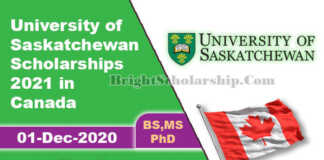 University of Saskatchewan Scholarships 2021 in Canada (Funded)