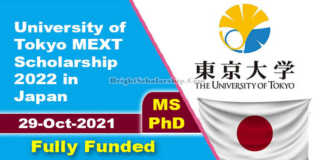 University of Tokyo MEXT Scholarship 2022 in Japan (Fully Funded)