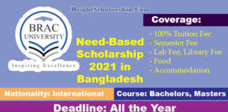 BRAC University International Scholarship 2021 in Bangladesh (Funded)