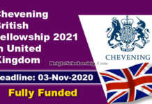 Chevening British Fellowship 2021 in United Kingdom (Fully Funded)