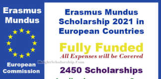 Erasmus Mundus Scholarship Program 2021 in Europe (Fully Funded)
