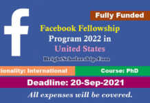 Facebook Fellowship Program 2022 in United States (Fully Funded)
