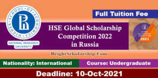 HSE Global Scholarship Competition 2022 in Russia (Funded)