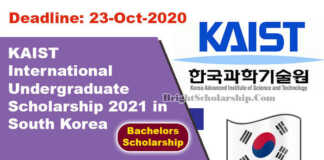 KAIST International Undergraduate Scholarship 2021 in South Korea (Fully Funded)