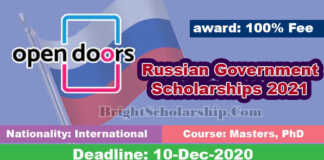 Open Doors Russian Government Scholarships 2021 in Russia (Funded)