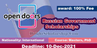 Open Doors Russian Government Scholarships 2022 in Russia (Funded)