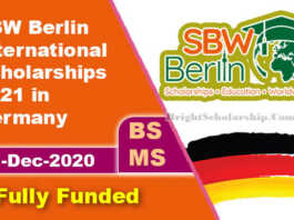 SBW Berlin International Scholarships 2021 in Germany (Fully Funded)