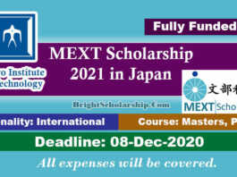 Tokyo Institute of Technology MEXT Scholarship 2021 in Japan (Fully Funded)