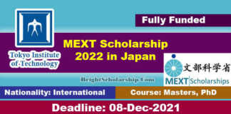 Tokyo Institute of Technology MEXT Scholarship 2022 in Japan (Fully Funded)