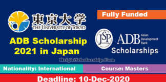University of Tokyo ADB Scholarship 2021 in Japan (Fully Funded)