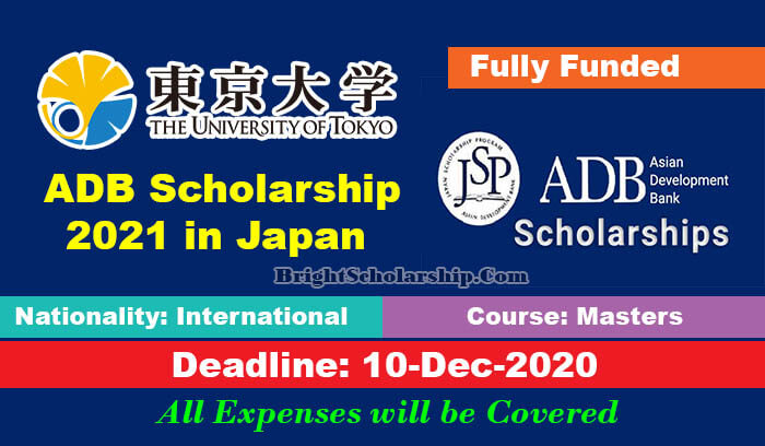 University of Tokyo ADB Scholarship 2021 in Japan (Fully ...