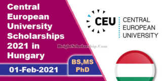 Central European University Scholarships 2021 in Hungary (Fully Funded)