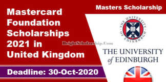 Mastercard Foundation Scholarships 2021 in United Kingdom (Fully Funded)