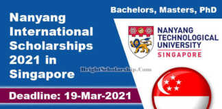 Nanyang International Scholarships 2021 in Singapore (Fully Funded)