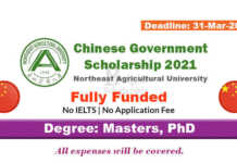 Northeast Agricultural University CSC Scholarships 2021 in China (Fully Funded)