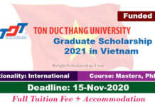 TDTU International Graduate Scholarship 2021 in Vietnam