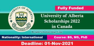University of Alberta Scholarships 2022 in Canada (Fully Funded)