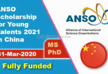 ANSO Scholarship for Young Talents 2021 in China (Fully Funded)